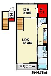 リッジクレスト 4階1LDKの間取り