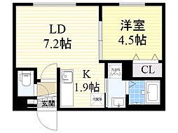 ル・ファール北円山 2階1LDKの間取り