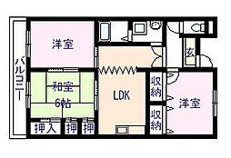 岸城マンション[2階]の間取り