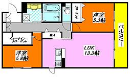 セントラルコート・高井田 106号室[1階]の間取り
