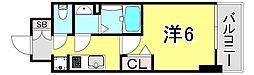 JR山陽本線 兵庫駅 徒歩2分の賃貸マンション 13階1Kの間取り