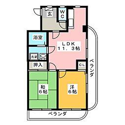 スフィアハザキ[6階]の間取り