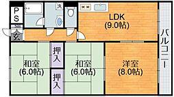 大阪府大阪市平野区加美東5丁目の賃貸マンションの間取り
