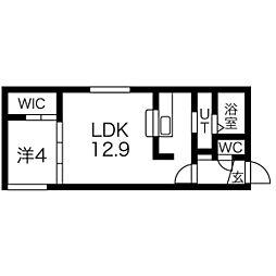 札幌市営東西線 西18丁目駅 徒歩9分の賃貸マンション 1階1LDKの間取り