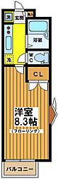 東京都世田谷区赤堤4丁目の賃貸アパートの間取り