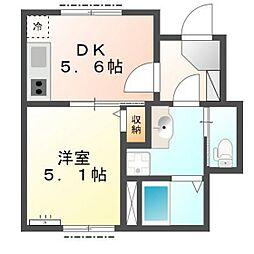 千葉県市川市関ケ島の賃貸アパートの間取り