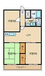 兵庫県姫路市広畑区東新町2丁目の賃貸マンションの間取り