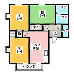愛知県長久手市富士浦の賃貸アパートの間取り