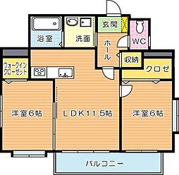 ディアコート鷹の巣[5階]の間取り