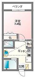 京阪本線 寝屋川市駅 徒歩15分の賃貸アパート 2階1Kの間取り