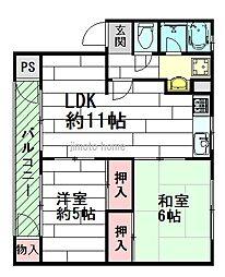 千里マンションB棟[1階]の間取り
