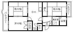 マンション桃山[4階]の間取り
