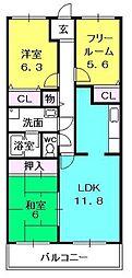 グランディール夙川[5階]の間取り