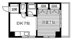 東京都品川区北品川1丁目の賃貸マンションの間取り