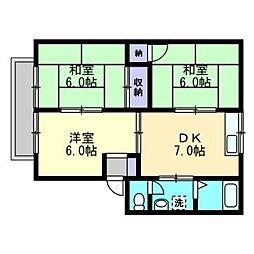 ファミリーハウス北畝[B202号室]の間取り