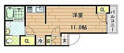 下小阪新築共同住宅 2階ワンルームの間取り