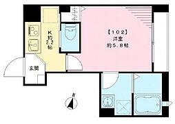 京成本線 新三河島駅 徒歩3分の賃貸マンション 1階1Kの間取り