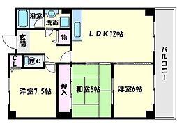エクセル千里三番館 3階3LDKの間取り