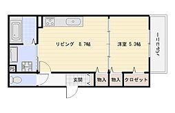 Osaka Metro千日前線 南巽駅 徒歩2分の賃貸アパート 2階1LDKの間取り