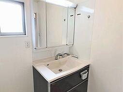 色々な種類の収納や棚・置場の付いた洗面台。