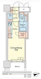 グランドプレシア芝浦 6階ワンルームの間取り