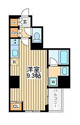 アゼスト川崎大師2 8階ワンルームの間取り