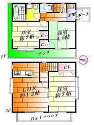 [一戸建] 大阪府箕面市箕面6丁目 の賃貸【/】の間取り