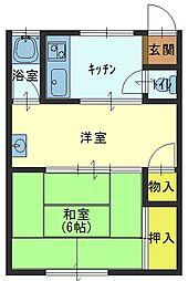 兵庫県芦屋市業平町の賃貸アパートの間取り
