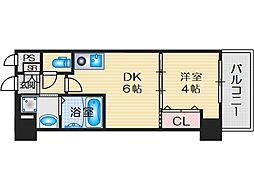 プレステージ4芥川 5階1DKの間取り