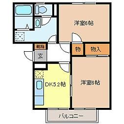 ガーデンタウン北長野B棟[2階]の間取り