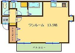 JR日豊本線 隼人駅 徒歩21分の賃貸アパート 2階ワンルームの間取り