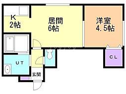 エースマンション 2階1LDKの間取り