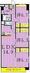 〜Jovial Fuente〜ホビアル・フェンテ[402E号室]の間取り