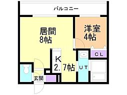 札幌市営東豊線 元町駅 徒歩7分の賃貸マンション 4階1LDKの間取り