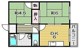 大橋マンション[208A号室]の間取り