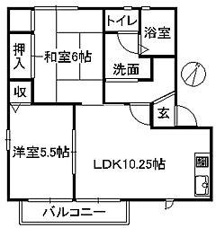 近鉄大阪線 榛原駅 徒歩5分の賃貸アパート 2階2LDKの間取り