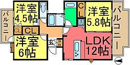 メゾンリバーサイド5号棟[2階]の間取り
