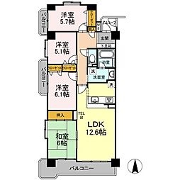 愛知県名古屋市天白区福池2丁目の賃貸マンションの間取り
