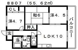 ディアコート藤井寺[302号室号室]の間取り