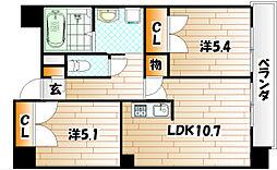 コスモス小倉駅前[8階]の間取り