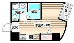 パークフロント北梅田 4階ワンルームの間取り
