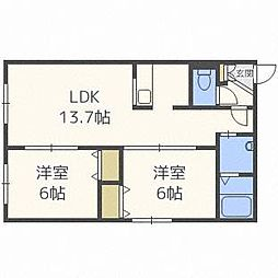 北海道札幌市中央区北十条西23丁目の賃貸マンションの間取り