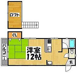 福岡県福岡市東区松崎3丁目の賃貸アパートの間取り
