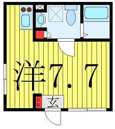 プラチナフォルム護国寺富士見坂 1階ワンルームの間取り