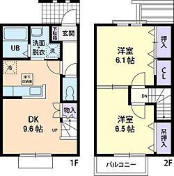 フラワーヒルズ B[2階]の間取り