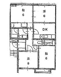 ロイヤルパレス五月[3階]の間取り