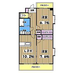 東京都青梅市河辺町7丁目の賃貸マンションの間取り