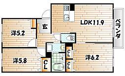 コンフォルト・M B棟[1階]の間取り