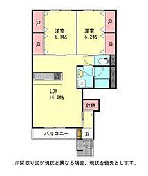 愛知県一宮市三条字宮西の賃貸アパートの間取り