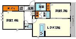 アヴァンセB棟[1階]の間取り